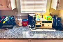 Coffee, wine, bread, and almost any kitchen basic you can think of are available and at your disposal.