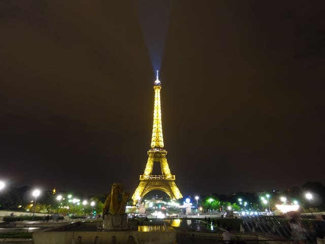 This is the view of the Eiffel tower that you will see by walking 1 minute away.