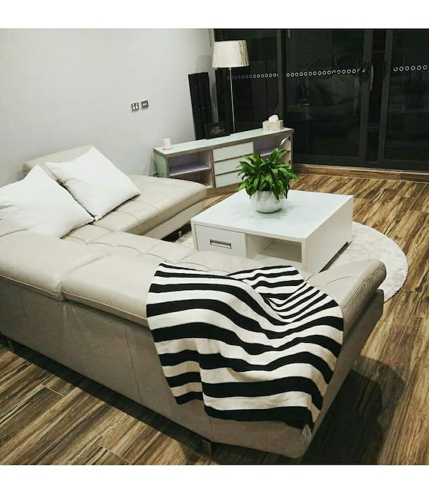 Comfy big leather lounge