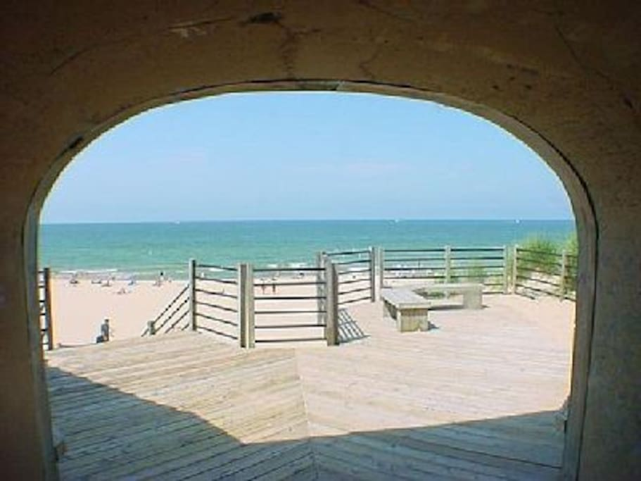 View of Lake Michigan from tunnel opening at Tunnel Beach