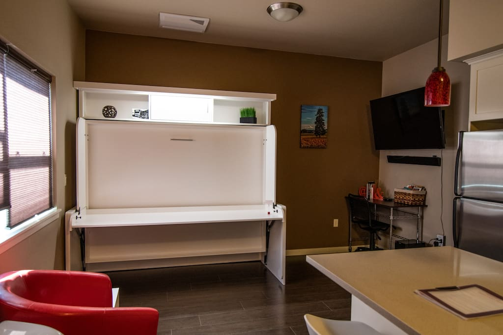 With the murphy bed closed as a usable desk.