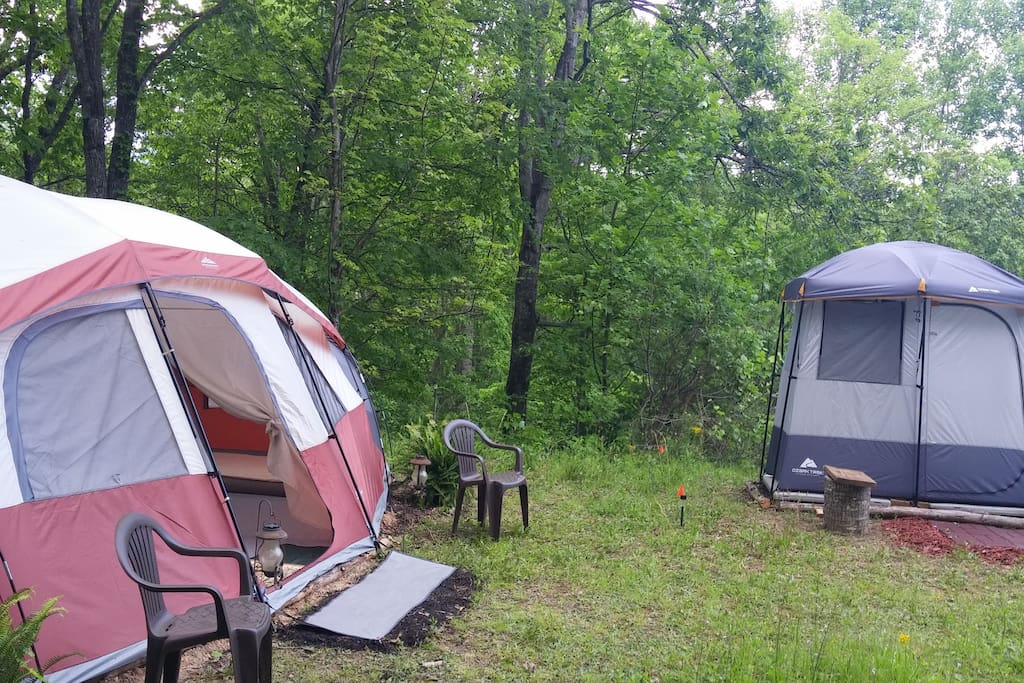 ALL GEAR INCLUSIVE SITE!  Bathroom/solar shower tent, 2 bedroom sleeping tent and covered kitchen area.