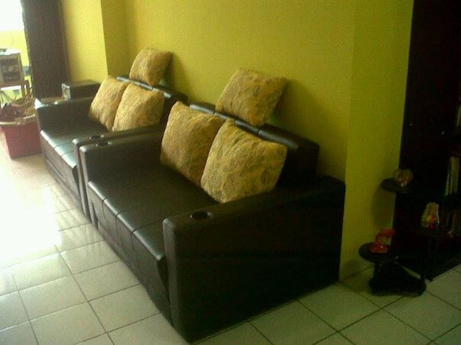 Livingroom with salon. The 2 seater sofa's with cupholders are also sofabeds.