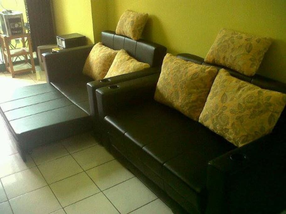 Sofa can easily be changed in sofabed, this gives 4 more places to sleep, if needed