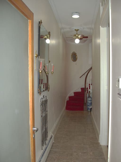 The studio is accessed through a common hallway and up the winding staircase to the third floor rear - sorry, there is no elevator and there are many steps involved!