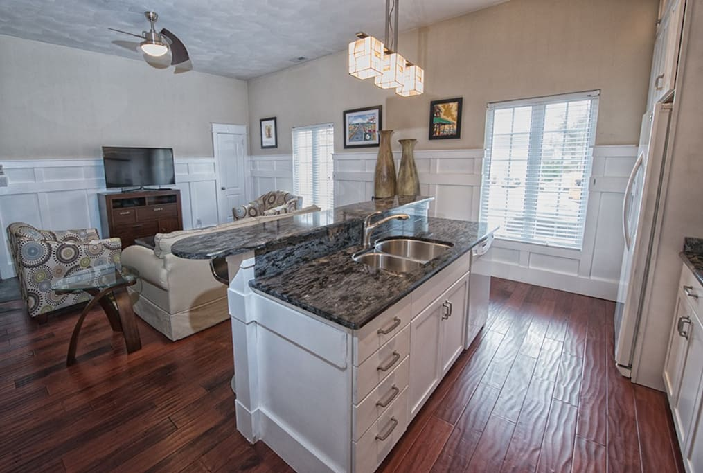 Gourmet kitchen fully equipped with everything you need to make all of your meals in.
