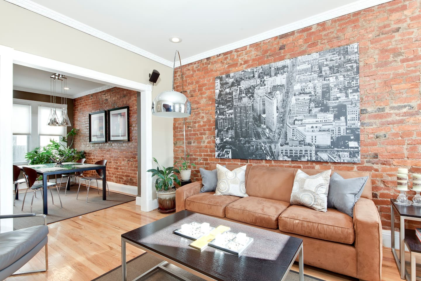 Exposed brick gives this house a lot of character