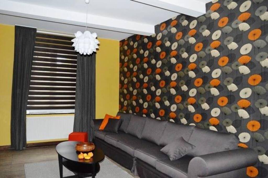 Salon confortable, avec tv écran plat (Belgacom tv)