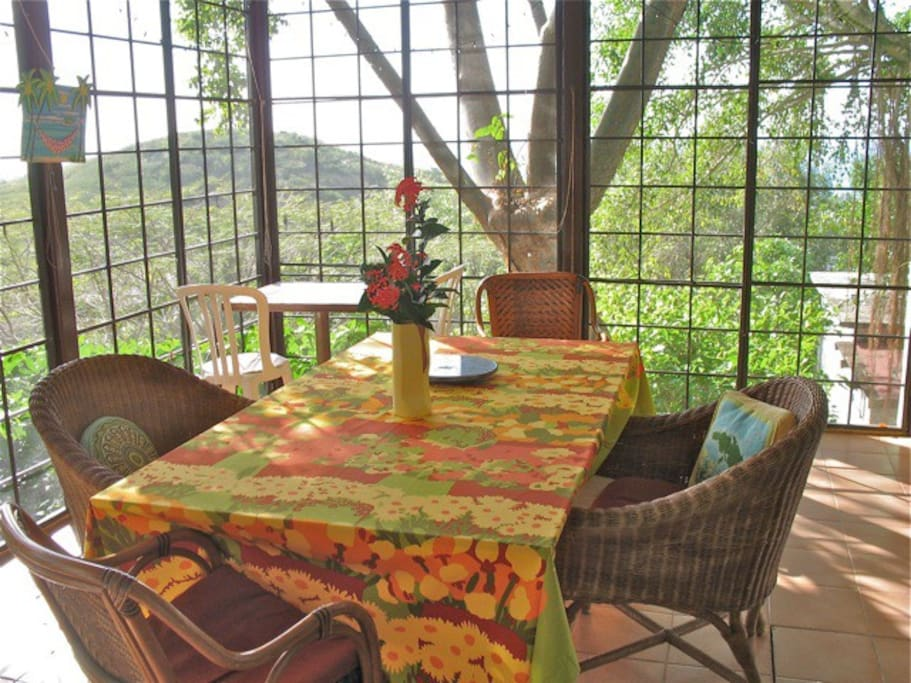 Dining room nestled in the trees
