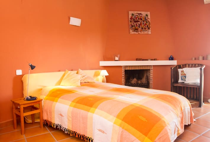 master bedroom, double bed  with terrace and bathroom ,  first floor