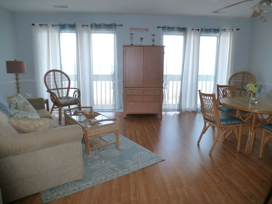 Enjoy ocean views and ocean breezes from living/dining and kitchen area.