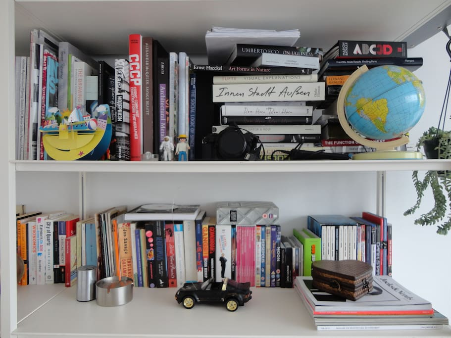 Our bookshelf - lots of DVD's, CD's, books and toys.