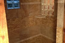 Another view of the custom-tiled shower!