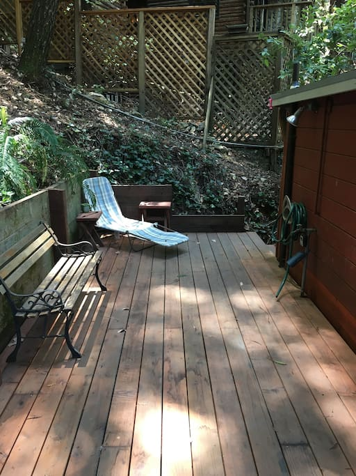 Back deck with Barbeque and Nestled in Redwoods
