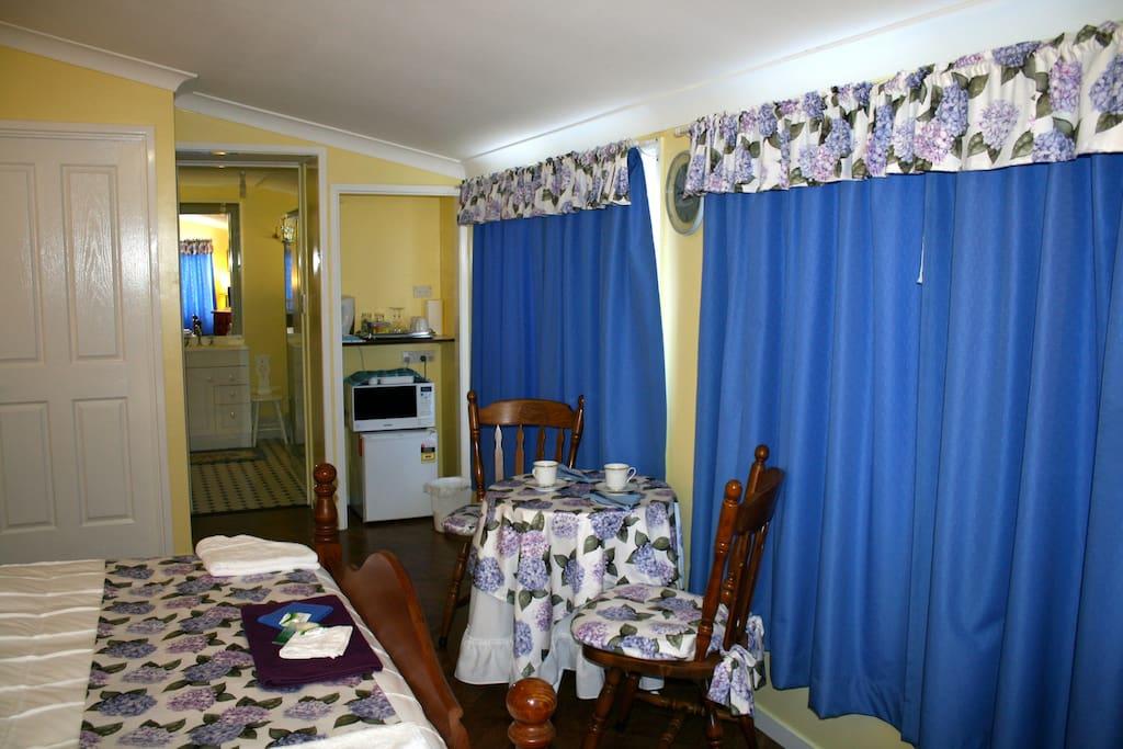 Garden Room has Tea & Coffee, Toaster Microwave, Fridge. Private Bathroom