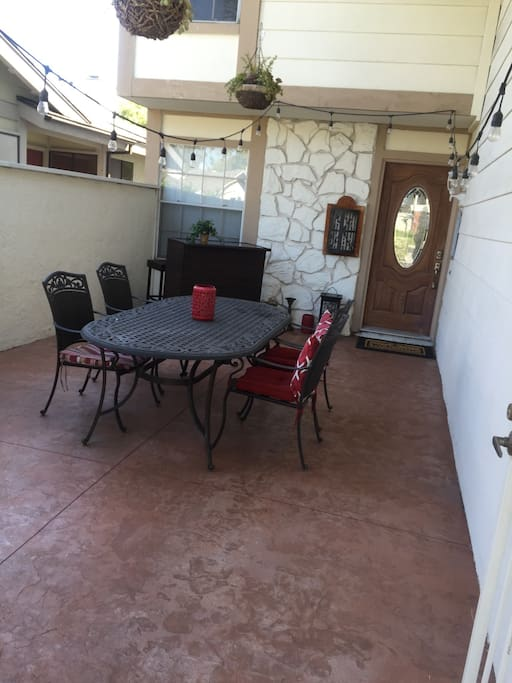 Large entry patio with heater.  Great for family meals enjoying California weather