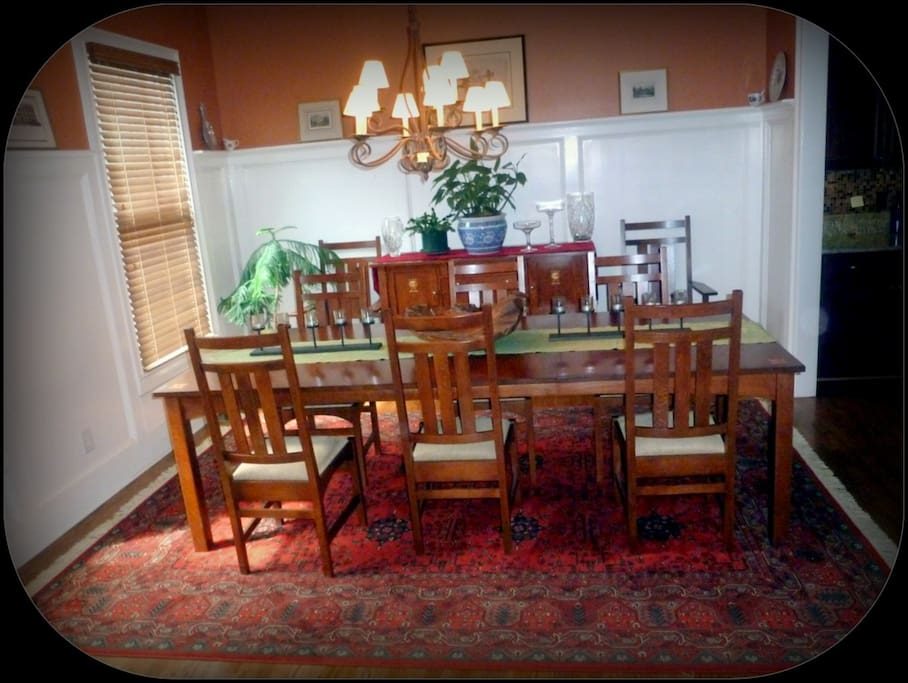 Formal dining room which seat 10 people...Stickley dining table and sideboard.