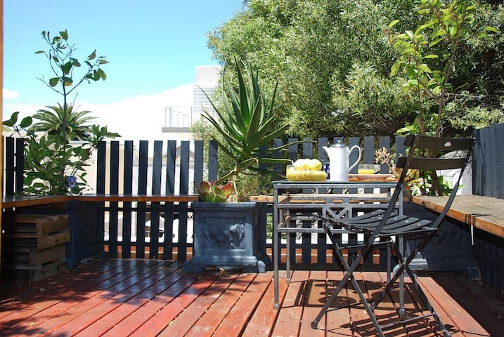 Breakfast on the northeast-facing sunny deck