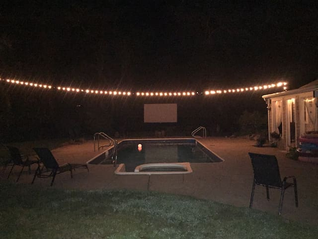 Nights by the pool, movies, fire pit...