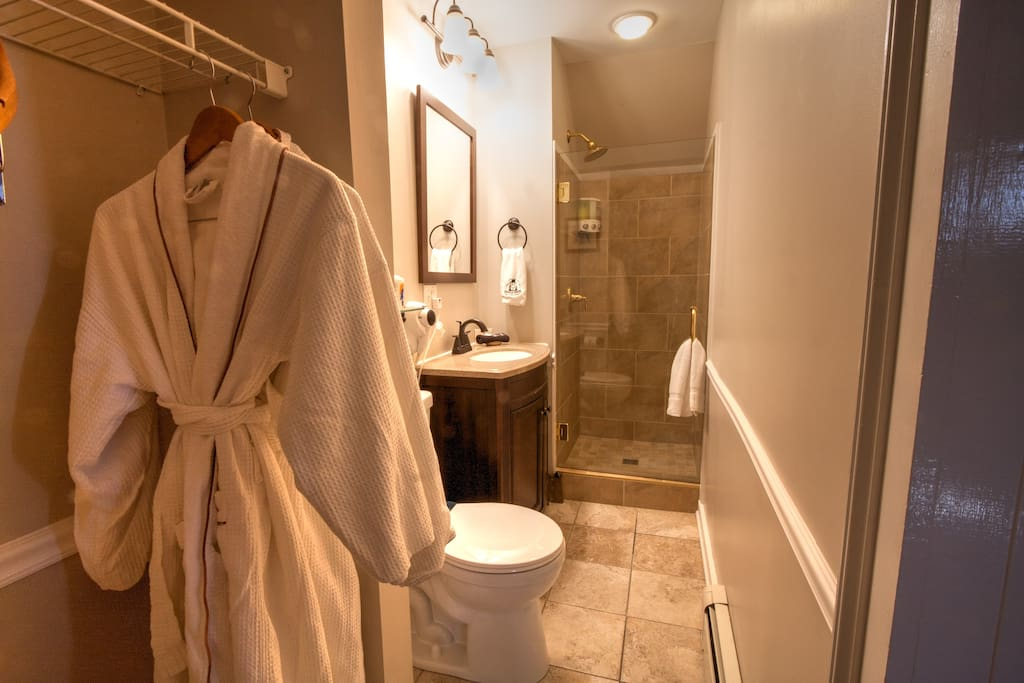 On-suite bathroom with shower & antique vanity