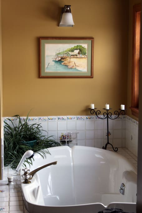 Two person jacuzzi in private Master Bathroom.