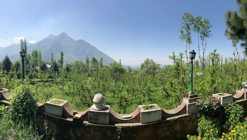 The scenery looking from garden towards mountains and dal lake