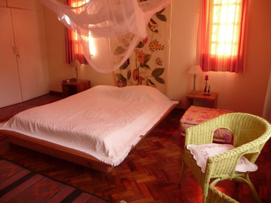 grande chambre 1 grand lit et 1 petit lit tres calme,belle vue sur un grand jardin