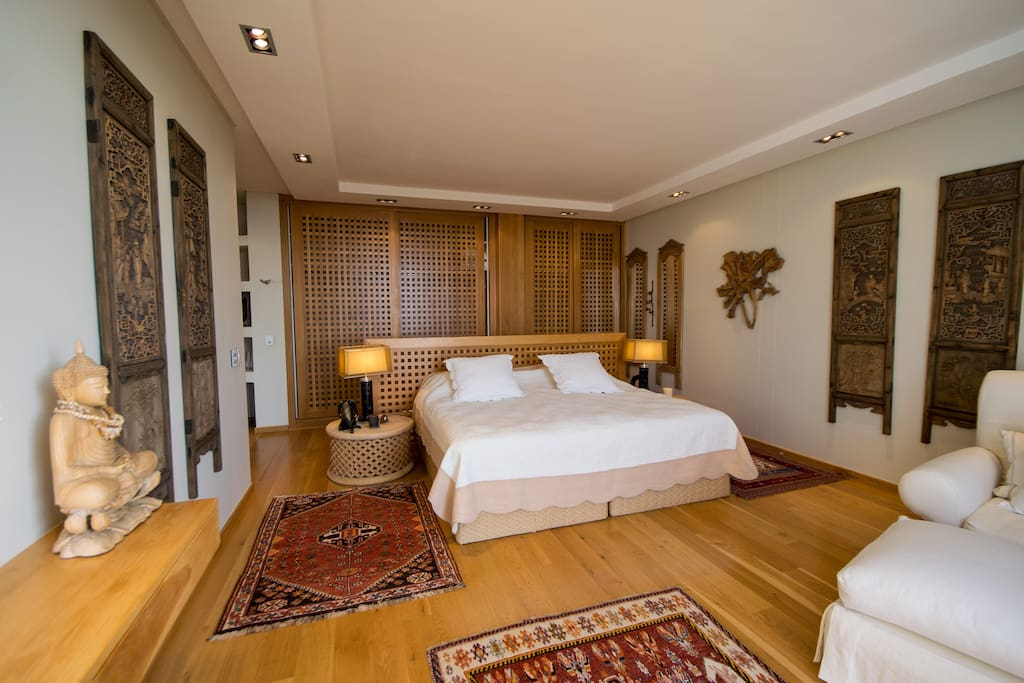 The main bedroom with two 3/4 beds that can be separated.