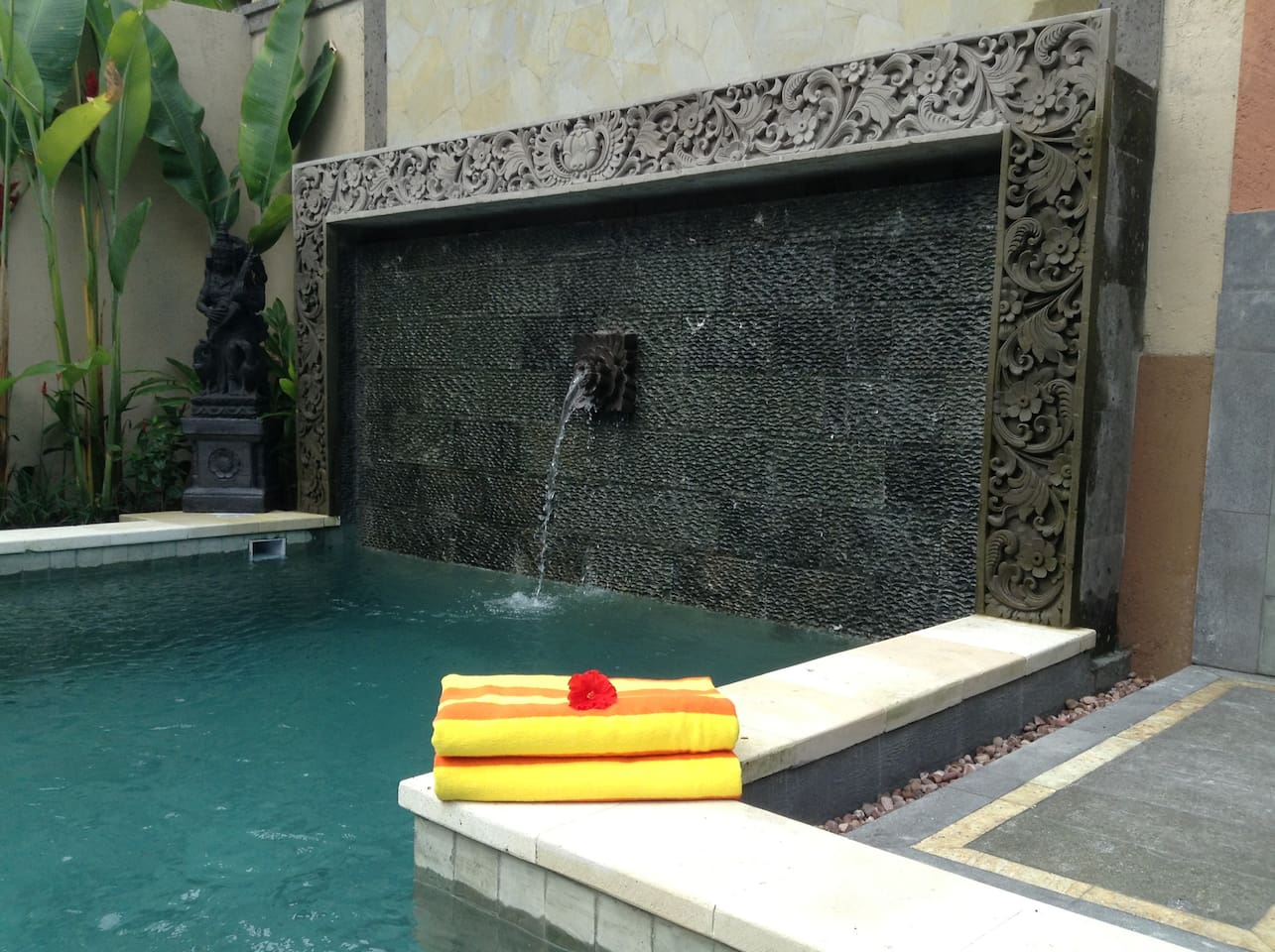 Enjoy peaceful tranquilty by the artisan pool at Villa Laba Puseh.