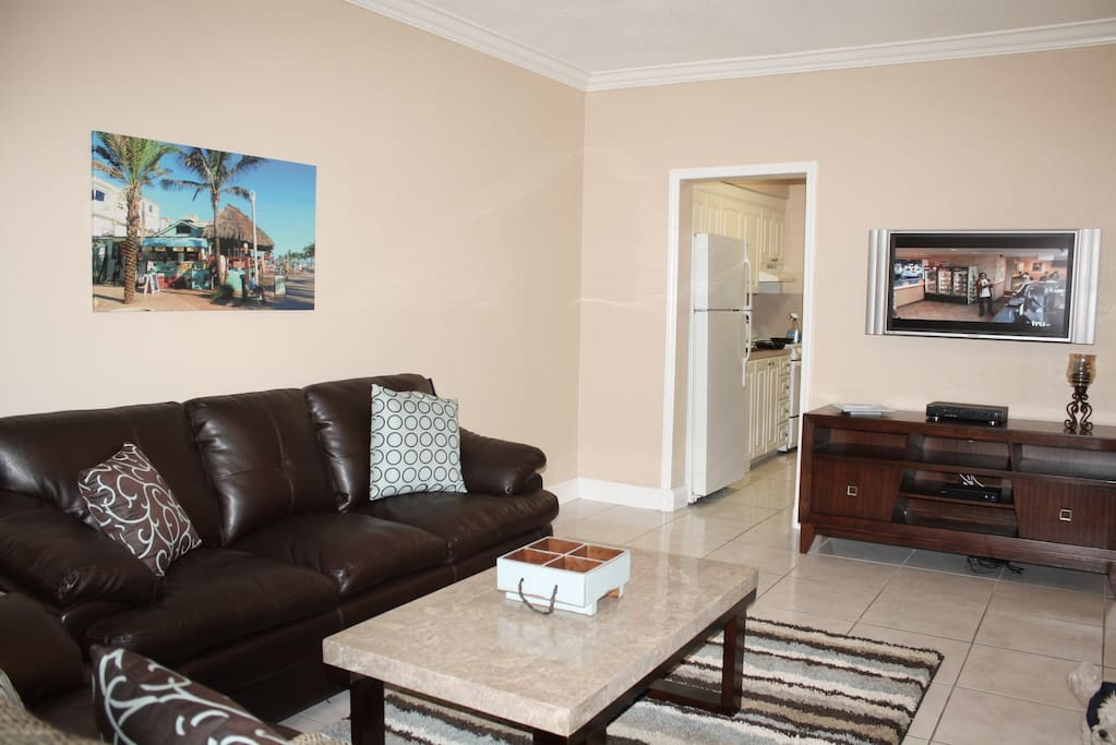 Entertainment console, large flat screen tv.