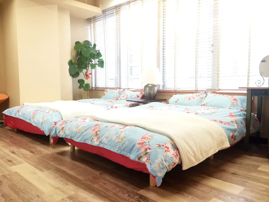 Bedroom 1. This bed room have two 140cm double beds.  Wide enough for two people to sleep.