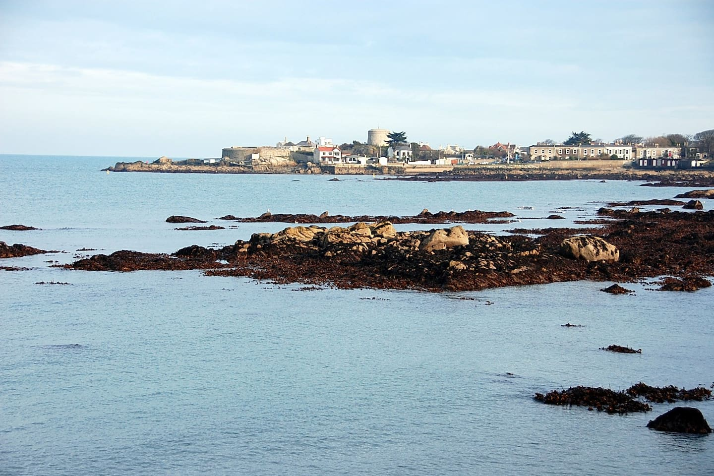A view of nearby Sandycove with Joyce's Tower in the background...