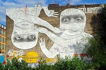 one of the most famous street-art pieces of Berlin is at a few minutes walking from the flat