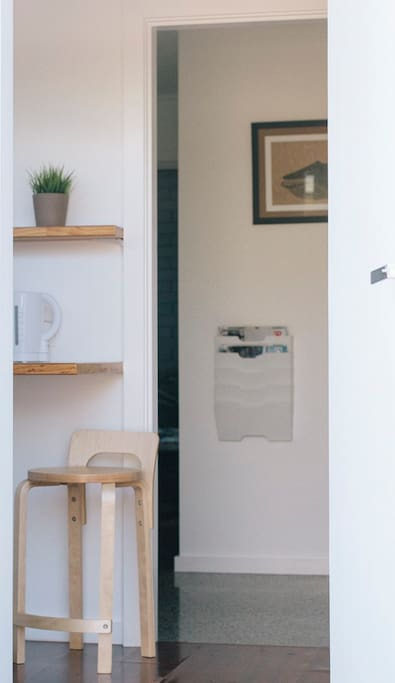 Bedroom entrance from the small and simple kitchenette