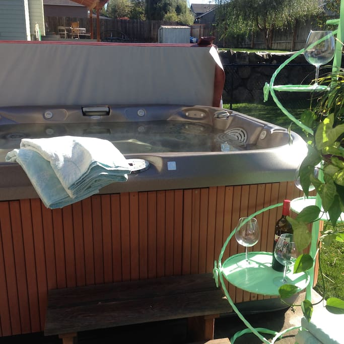 relax; 6 person hot tub in private fenced backyard.