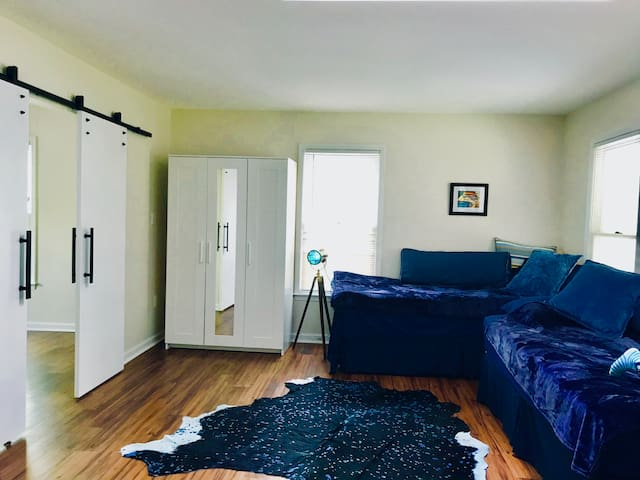 Guest bedroom N3 with two twin XL or one king bed,  and a second TV