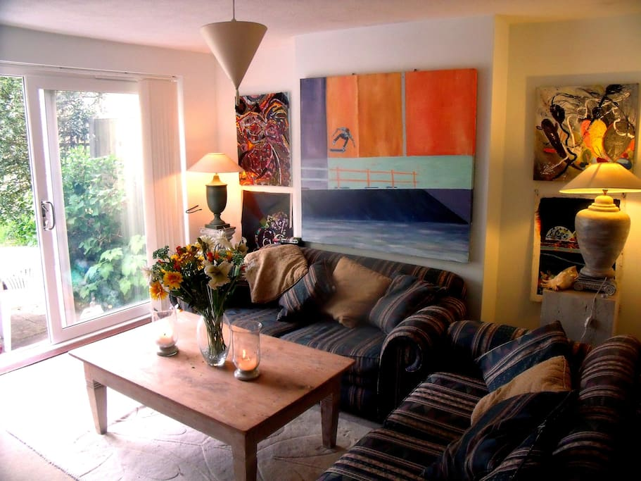 Cosy living room filled with my paintings