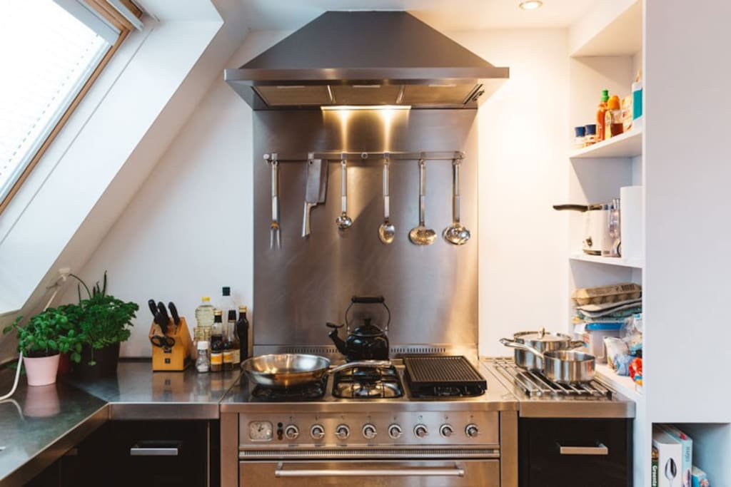 Modern kitchen including gas stove