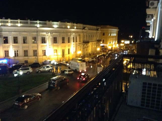 View from balcony of Primorski Boulevard and port of Odessa.