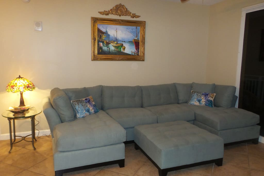 Living Room with a Huge Sectional for Comfortable Seating