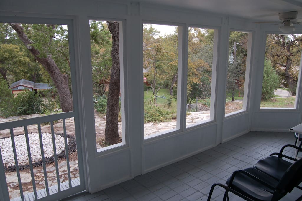 View from inside of the brand-new screened-in patio directly off the family room.