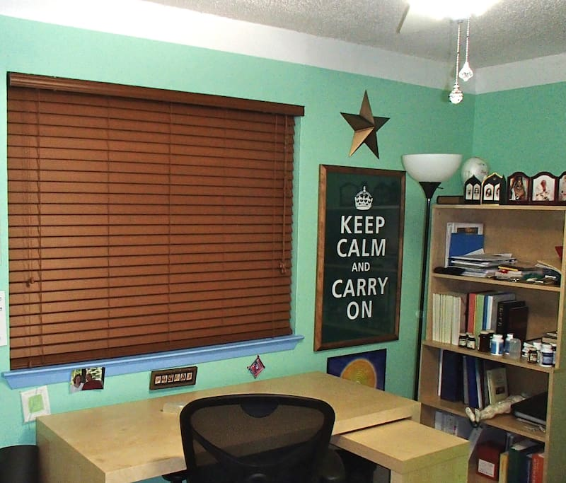 Wood blinds and desk