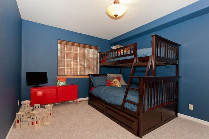 Main level Bedroom 2 - twin over full bunked with twin pull-out trundle