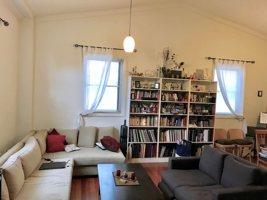 My fabulous main common room which used to serve as a big spacious open music teaching and rehearsal room for many years and now serves my guests as a most comfortable sitting/ reading/ social / relaxing / dining space :)