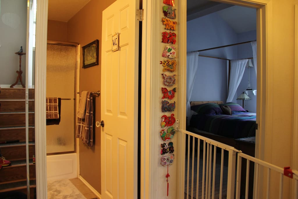 View on the 2nd floor - your guest room is on the right, and the private bathroom is on the left.
