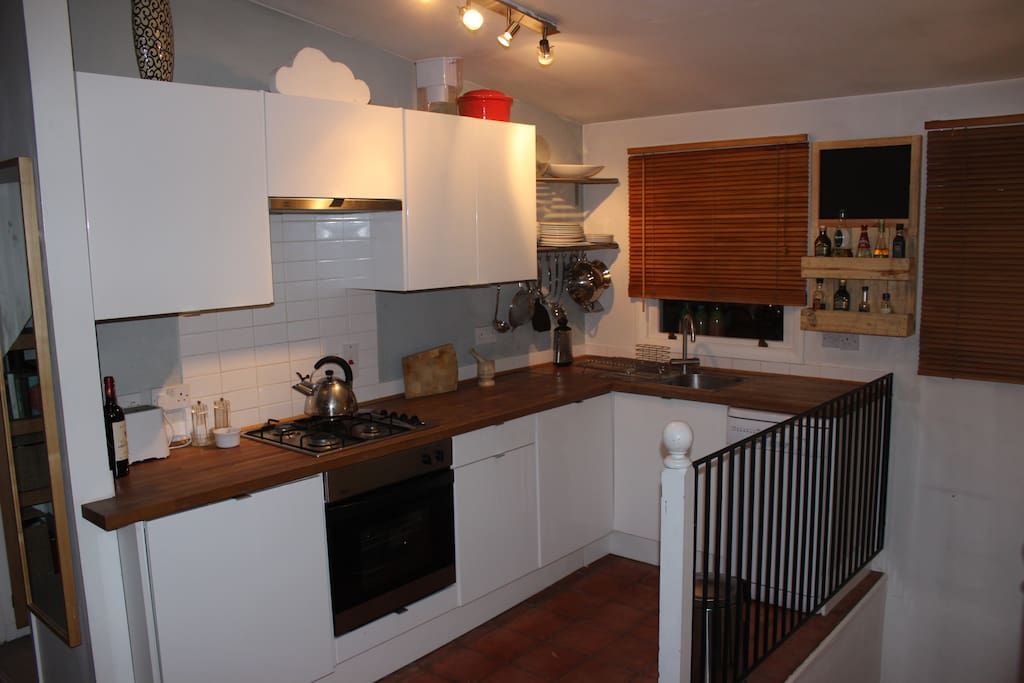 Large Modern kitchen with with everything you need, including dish washer and gas stove.