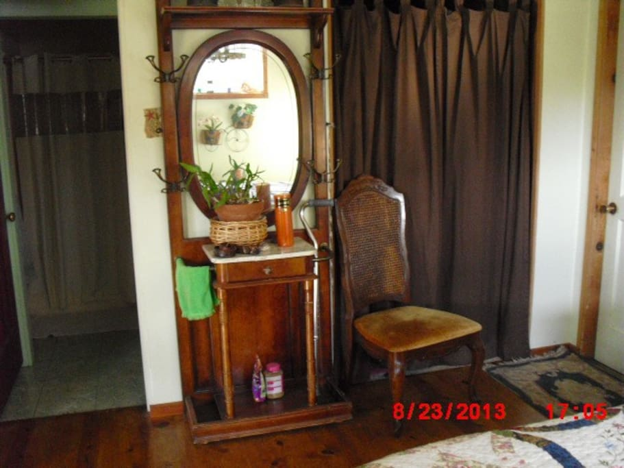 Closet, hall tree to hang hats and coats.