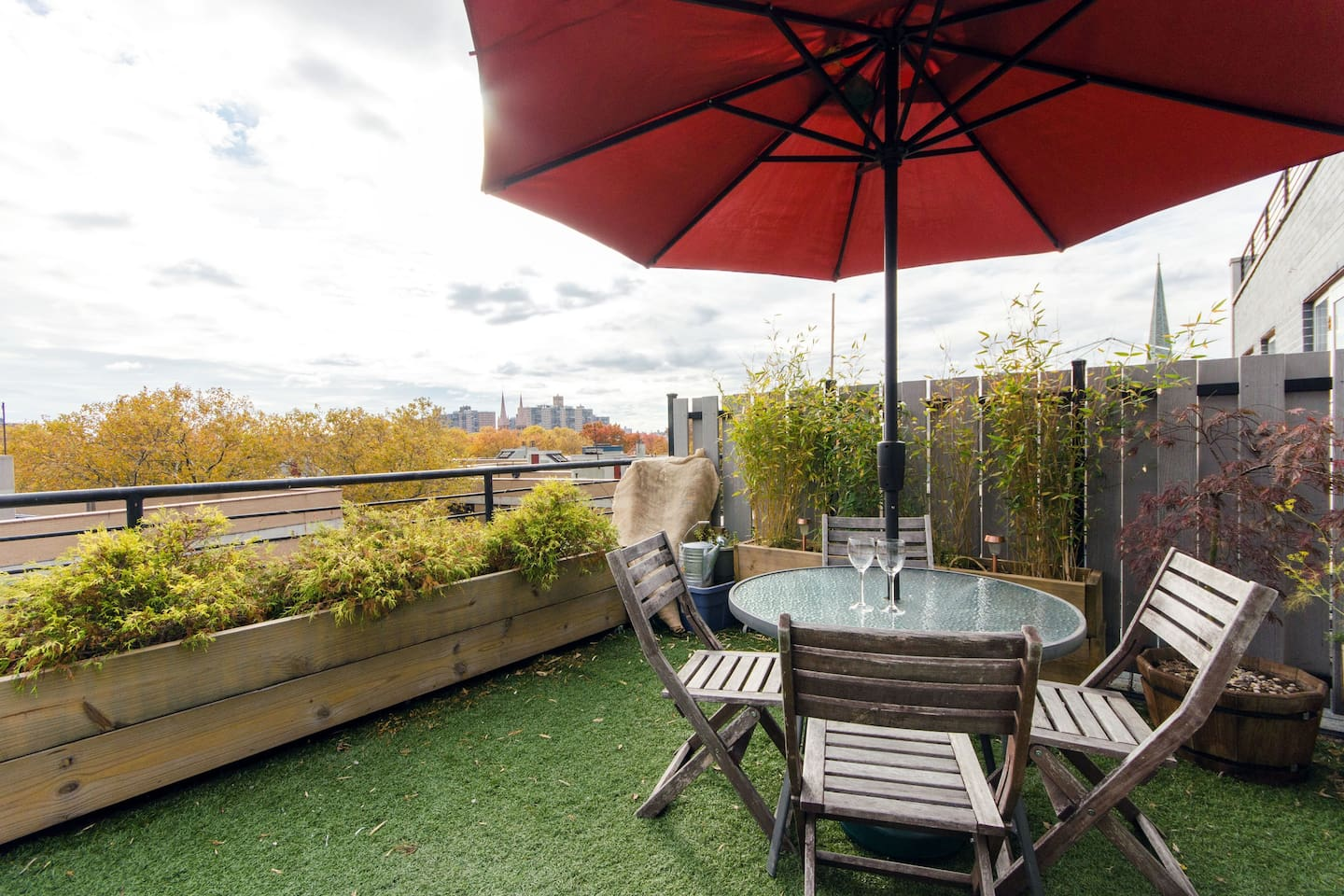 Our private deck is available during the daytime. Its a great place to relax and enjoy a drink or read a book.