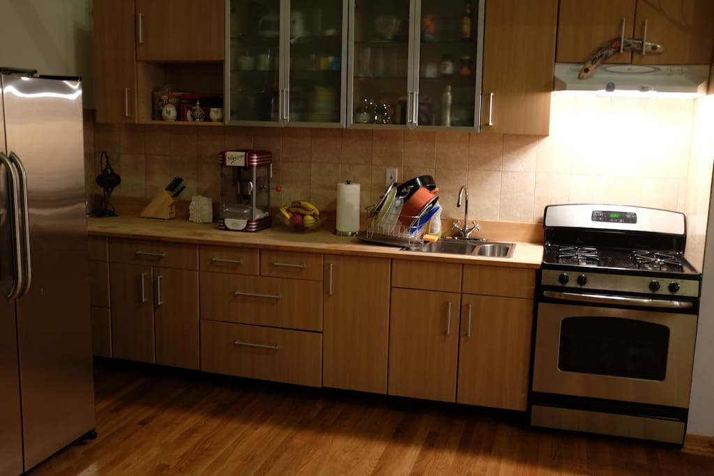 This is the kitchen area. Feel free to use the popcorn machine and help yourself to some delicious apples.