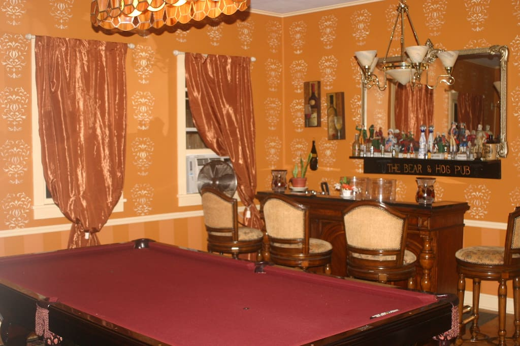 Our dining area also features a tournament size pool table and TV.